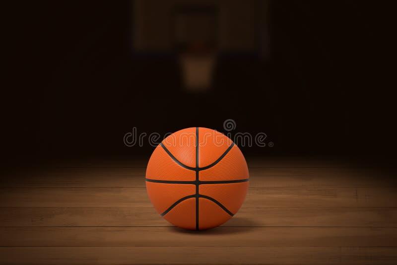 Wiedergabe 3d eines Basketballs auf dem Bretterboden in einer schwach beleuchteten Turnhalle mit einem unscharfen Bild des Korbes stockbild