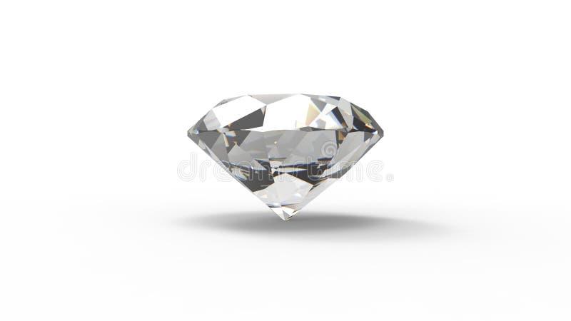 Wiedergabe 3d eines Diamanten lokalisiert im weißen Hintergrund stock abbildung