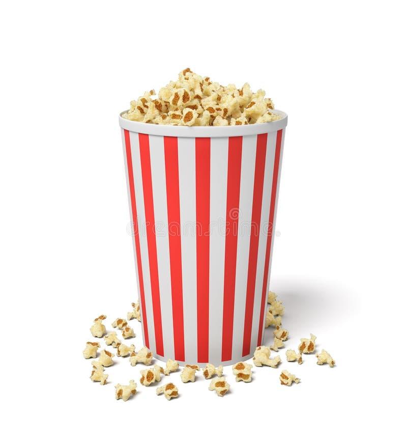 Wiedergabe 3d eines einzelnen kleinen Popcorneimers in den roten und weißen Streifen mit der Popcornüberschwemmung von ihm stockfoto