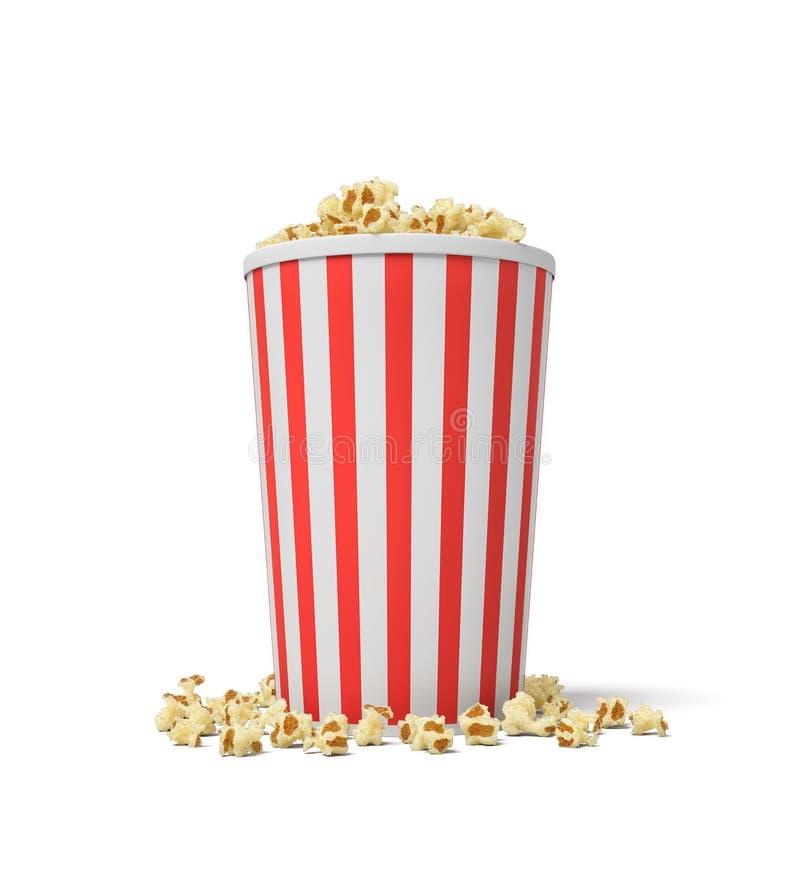 Wiedergabe 3d eines einzelnen kleinen Popcorneimers in den roten und weißen Streifen mit der Popcornüberschwemmung von ihm lizenzfreie abbildung