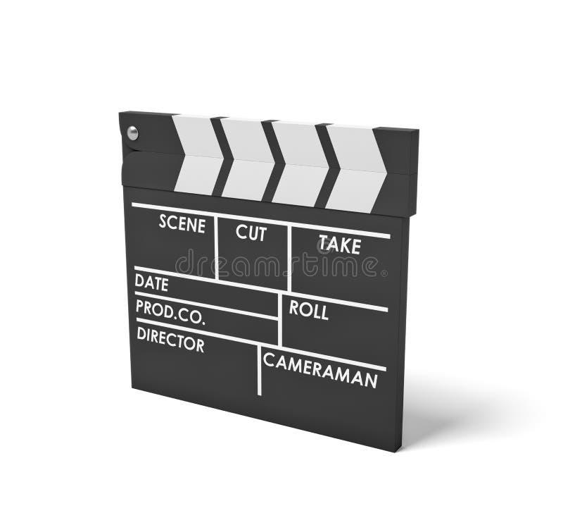 Wiedergabe 3d eines einzelnen schwarzen clapperboard mit leeren Feldern für den Filmnamen, -personal und -nehmen, die in einer Se stock abbildung