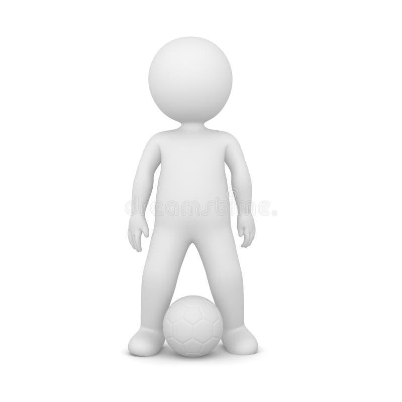 Wiedergabe 3D eines Fußballspielers auf Weiß lizenzfreies stockfoto