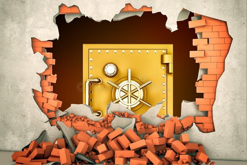 Wiedergabe 3d eines großen goldenen Safes durch gesehen einem enormen Loch in einer vergipsten Backsteinmauer stockbilder