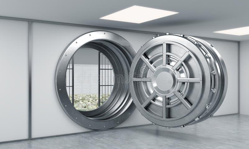 Wiedergabe 3D eines großen offenen runden Metallsafes in einem Banklager lizenzfreie abbildung
