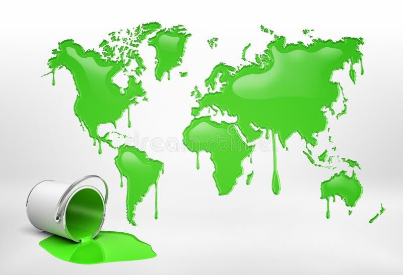 Wiedergabe 3d eines halb leeren Eimers, der auf seiner Seite nahe einer großen Wortkarte mit allen Kontinenten lecken Farbe liegt stock abbildung