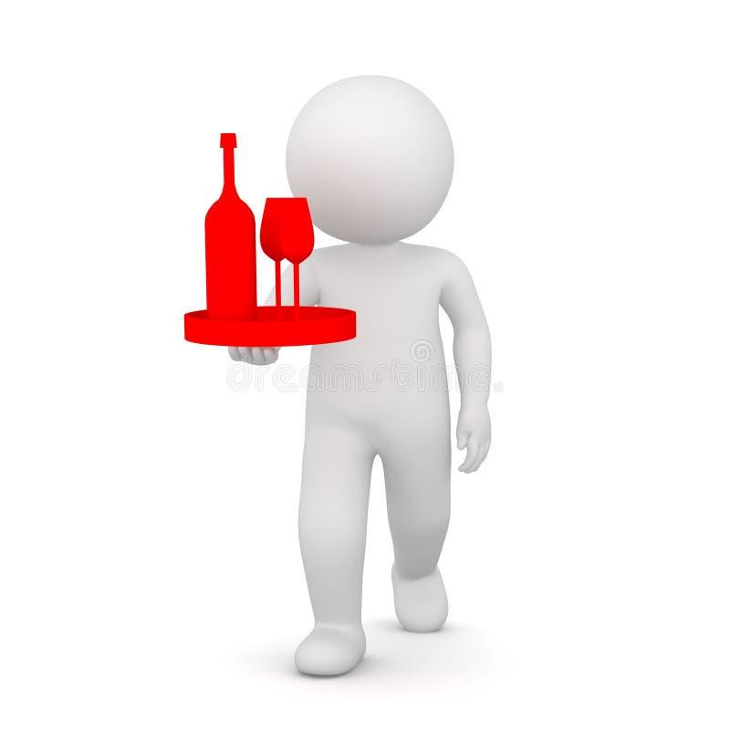 Wiedergabe 3D eines Kellners, der eine Flasche Wein holt vektor abbildung