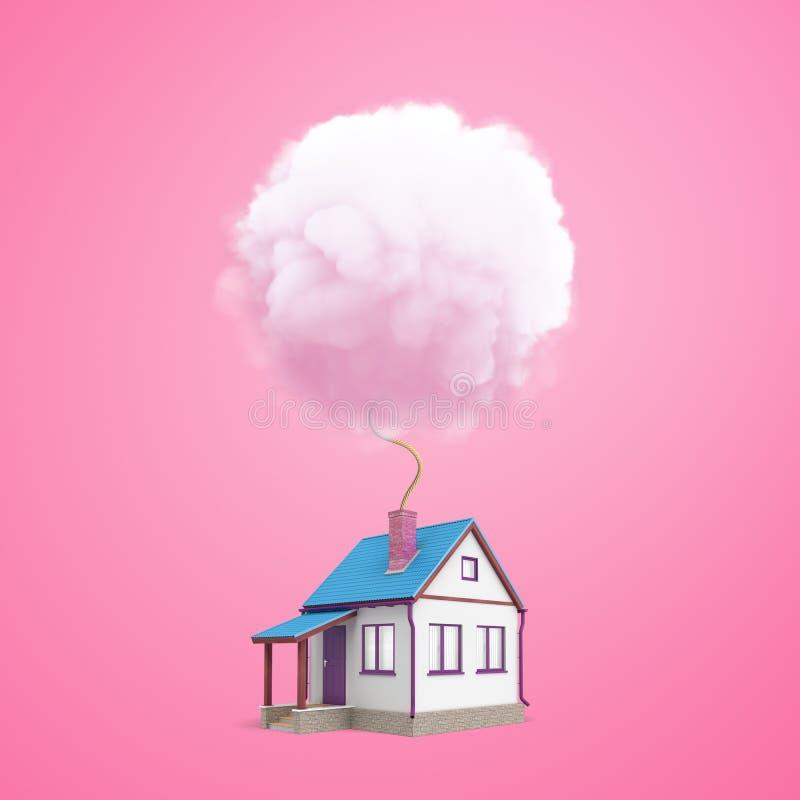 Wiedergabe 3d eines kleinen ein-storeyed Einzelhauses mit einem Kamin, von dem ein Docht in eine flaumige Runde führt stockfotografie