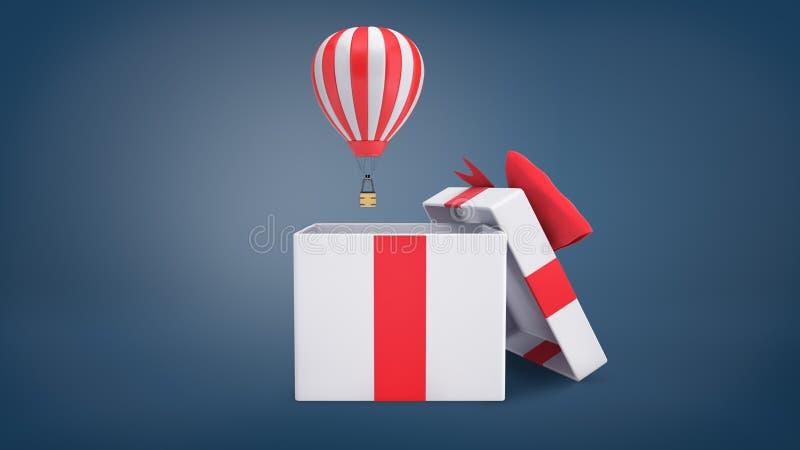 Wiedergabe 3d eines kleinen gestreiften Heißluftballonfliegens aus einer großen weißen Geschenkbox mit einem roten Bandbogen hera stockfotografie