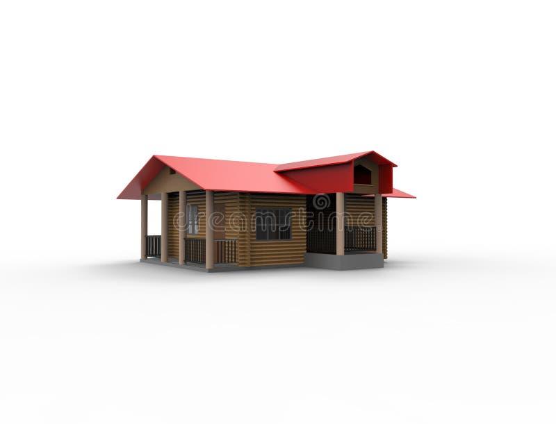 Wiedergabe 3d eines kleinen Kabinenhauses lokalisiert im weißen Hintergrund stock abbildung