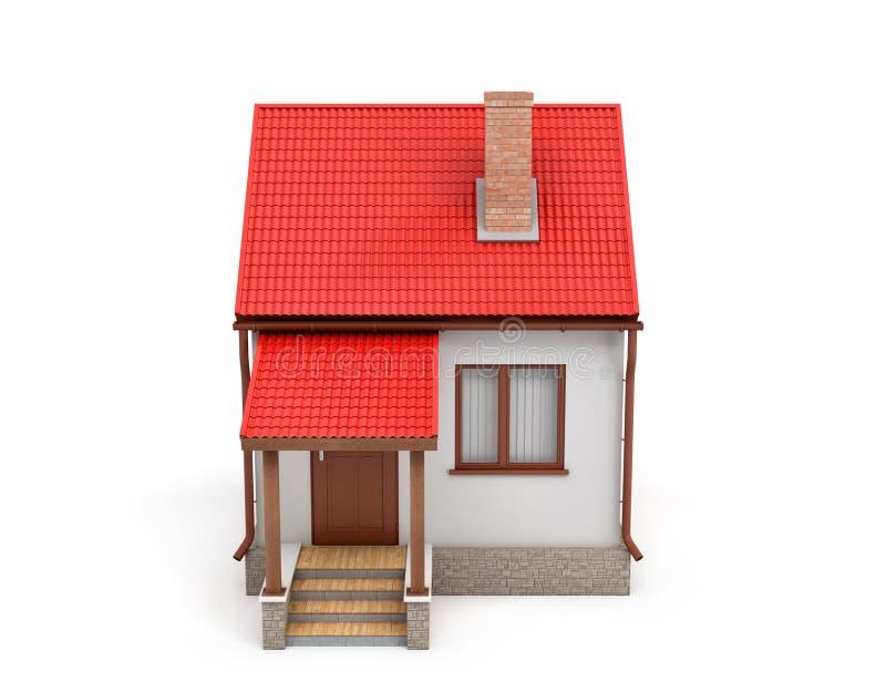 Wiedergabe 3d eines kleinen Wohnhauses mit einem Kamin und einem roten Dach auf einem weißen Hintergrund lizenzfreie abbildung