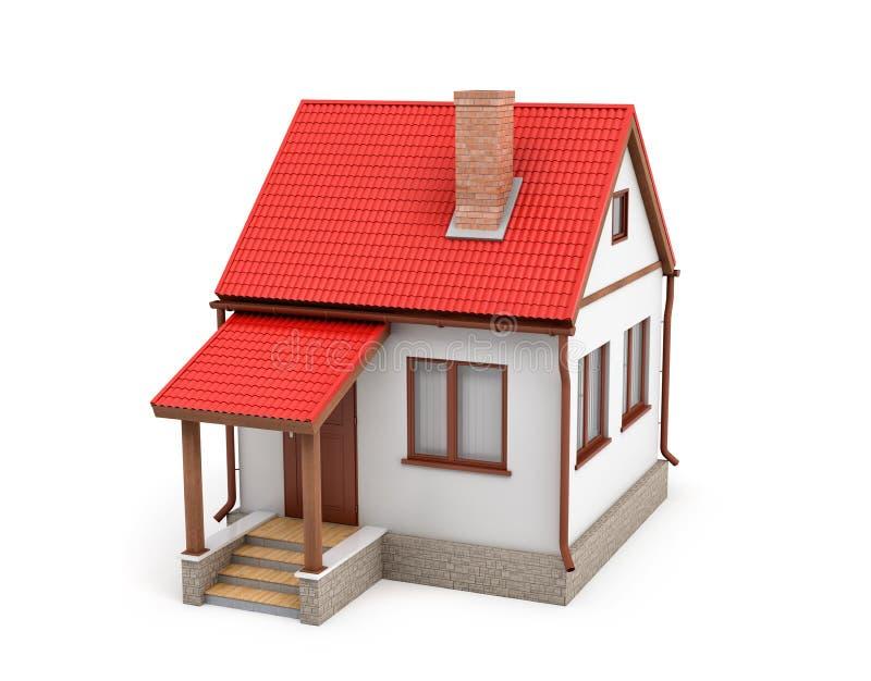 Wiedergabe 3d eines kleinen Wohnhauses mit einem Kamin und einem roten Dach auf einem weißen Hintergrund vektor abbildung