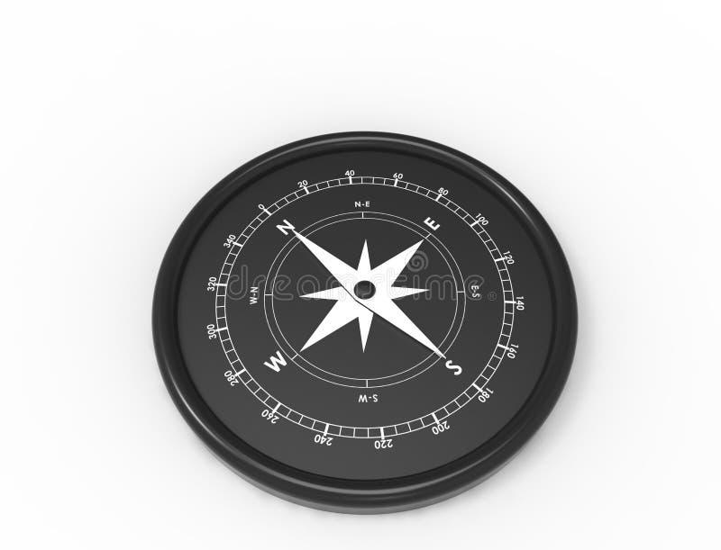 Wiedergabe 3d eines Kompassnordwestens südöstlich lokalisiert im weißen Hintergrund stock abbildung