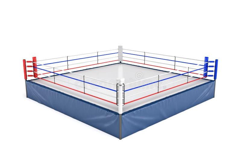 Wiedergabe 3d eines leeren Boxrings in der Seitenansicht zu seiner Ecke lokalisiert auf weißem Hintergrund vektor abbildung