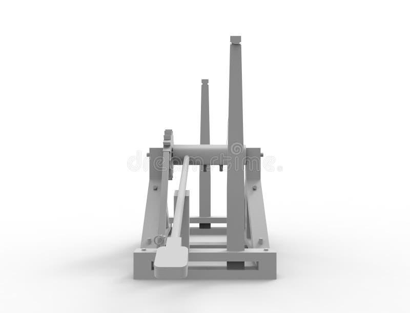 Wiedergabe 3d eines Leonardo Da Vinci-Katapults im weißen Hintergrund vektor abbildung