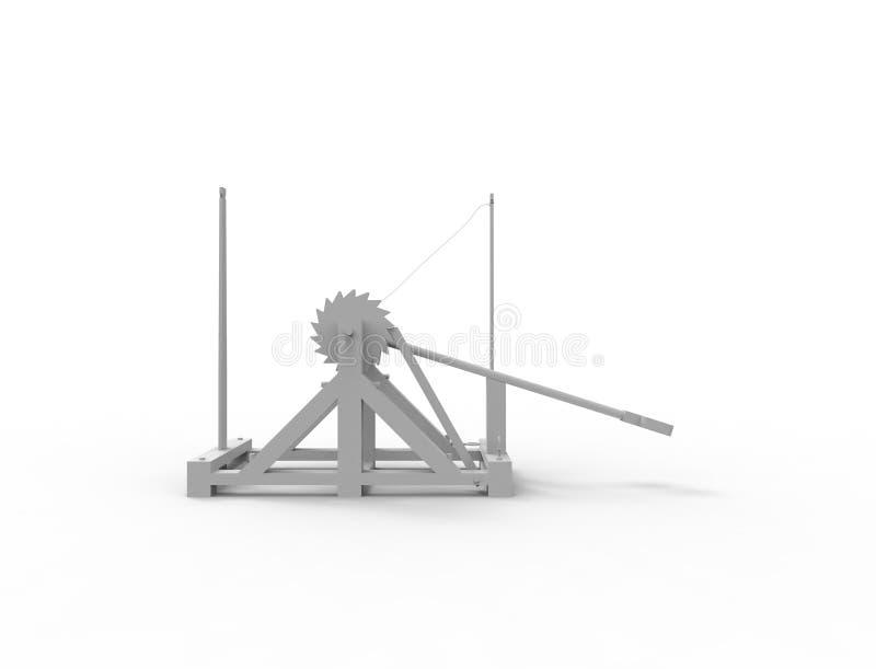 Wiedergabe 3d eines Leonardo Da Vinci-Katapults im weißen Hintergrund lizenzfreie abbildung
