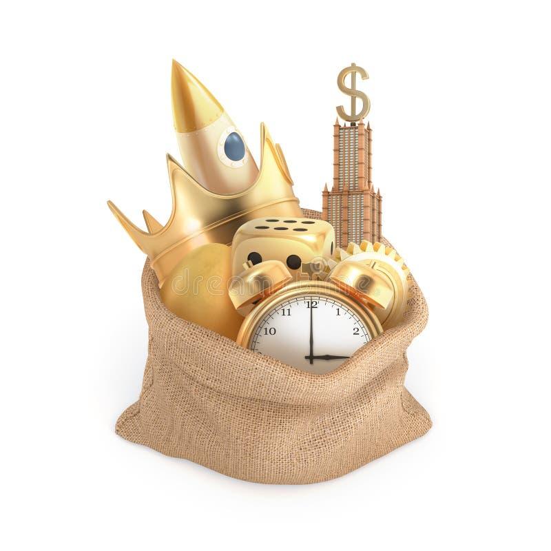 Wiedergabe 3d eines lokalisierten Leinensacks voll vieler goldenen Einzelteile: ein Wolkenkratzer, ein Wecker, eine Krone und and stockfotos
