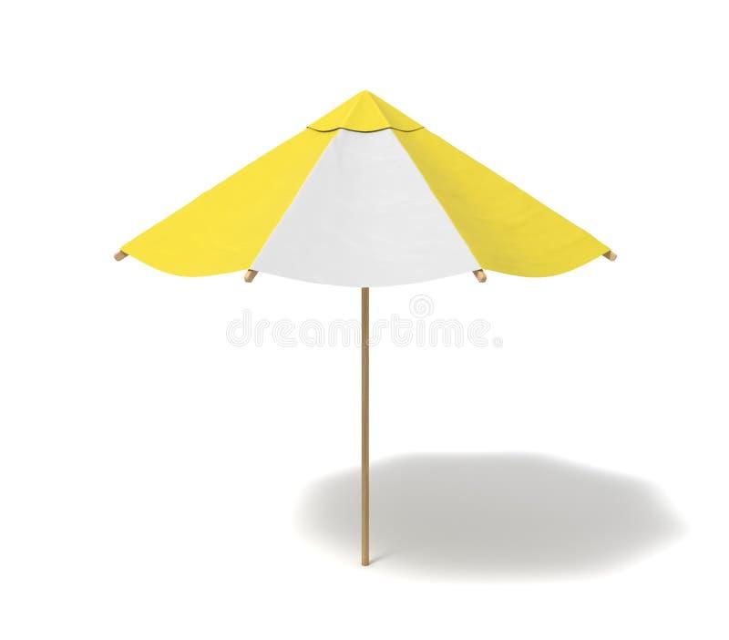 Wiedergabe 3d eines lokalisierten Strandschirms mit den weißen und gelben Streifen auf weißem Hintergrund lizenzfreie stockfotografie