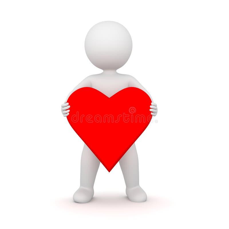 Wiedergabe 3D eines Mannes, der eine Herzform hält lizenzfreie abbildung