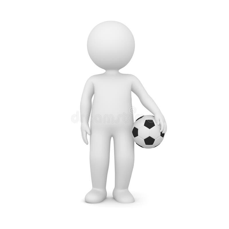 Wiedergabe 3D eines Mannes, der einen Fußball hält vektor abbildung
