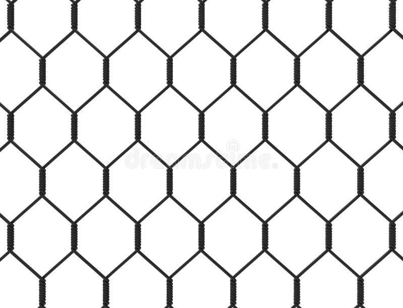 Wiedergabe 3d eines Metallzauns lokalisiert auf weißem Hintergrund stock abbildung