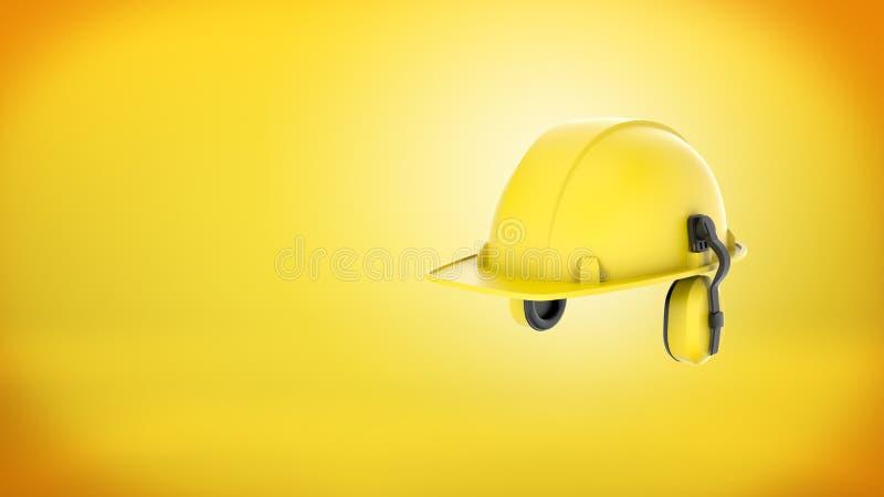 Wiedergabe 3d eines neuen gelben Bauschutzhelms mit den Ohrmuffen befestigt auf gelbem Hintergrund vektor abbildung