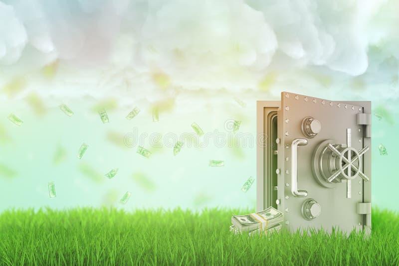 Wiedergabe 3d eines offenen Safes auf einem frischen grünen Rasen mit einigen Geldbündeln neben ihm und des Regens des Dollarsche stockfoto