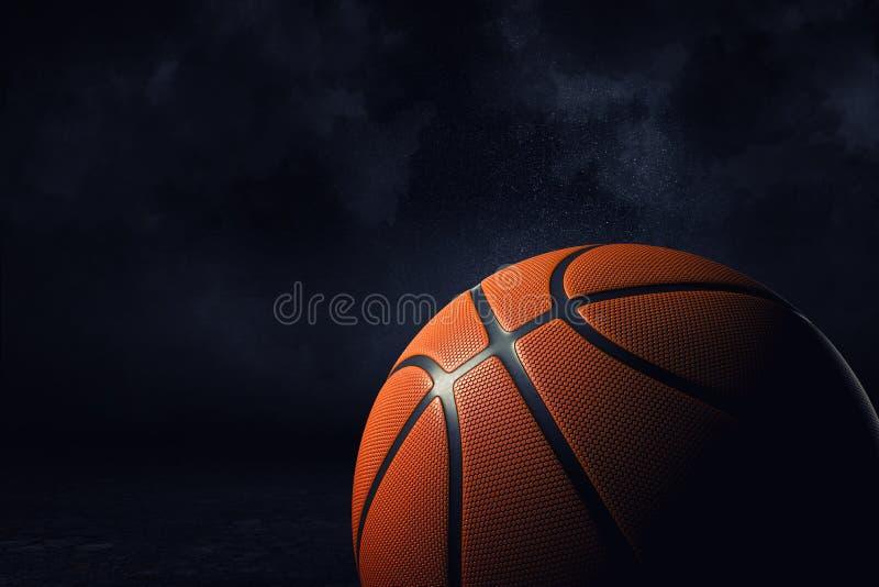 Wiedergabe 3d eines orange Basketballballs gezeigt in der nahen Ansicht in hohe Auflösung auf einem dunklen Hintergrund stock abbildung