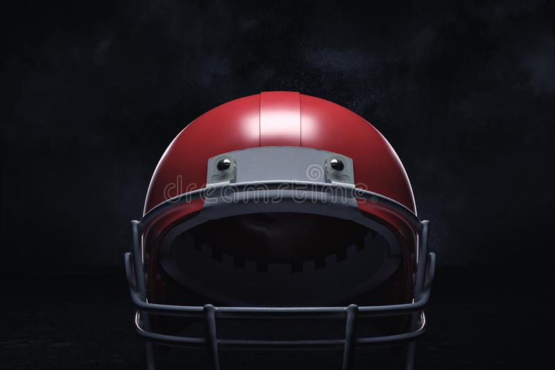 Wiedergabe 3d eines roten amerikanischen Football-Helms mit seinem vorderen Schutz auf einem dunklen Hintergrund lizenzfreies stockfoto