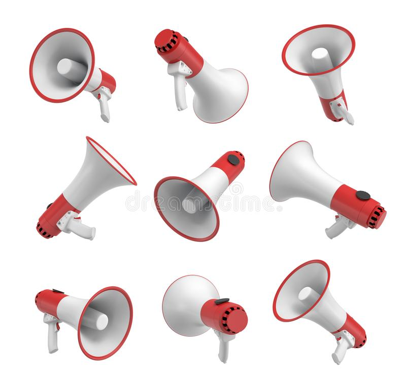 Wiedergabe 3d eines Satzes einiger weißer und roter Megaphone in den verschiedenen Winkeln auf weißem Hintergrund stock abbildung