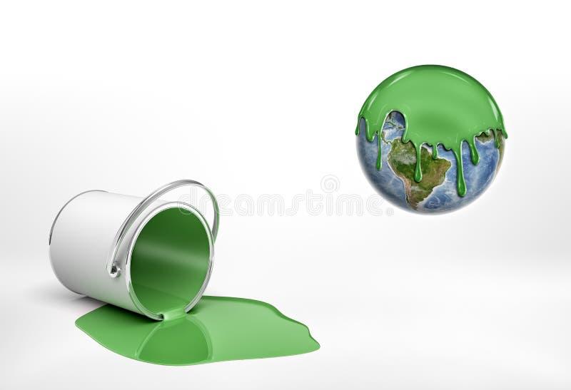 Wiedergabe 3d eines umgeworfenen grünen Farbeimers, der neben einer Erdkugelhälfte umfasst in der grünen Farbe liegt vektor abbildung