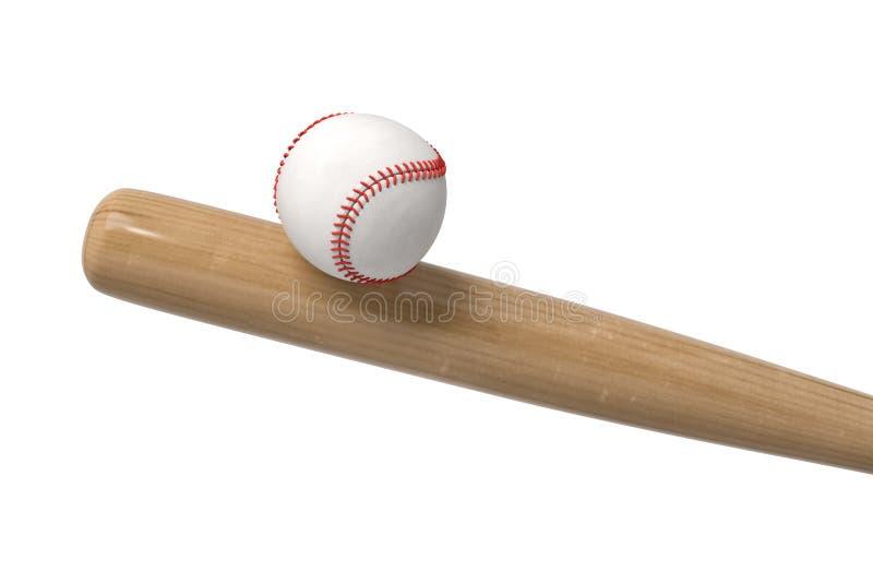 Wiedergabe 3d eines weißen Baseballs mit dem nähenden Balancieren des Rotes auf einem hölzernen Schläger in der nahen Ansicht lizenzfreie abbildung