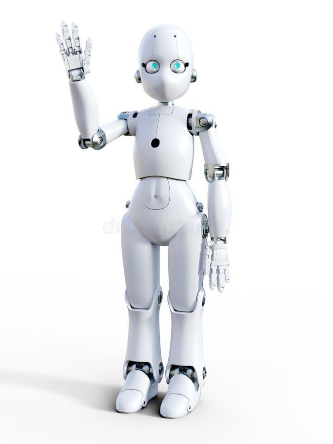 Wiedergabe 3D eines wellenartig bewegenden hallo des weißen Karikaturroboters stock abbildung