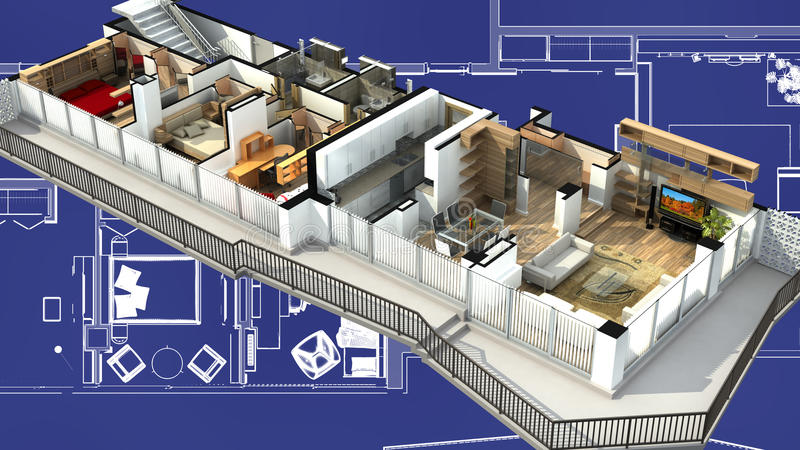 Wiedergabe 3D eines Wohnungsinnenraums stock abbildung