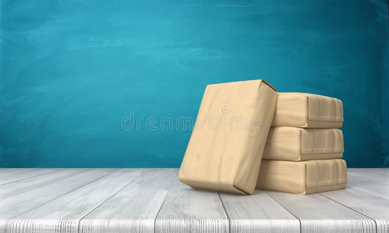 Wiedergabe 3d eines Zementsacks, der über drei anderen Staplungssätzen auf einem Holztisch auf blauem Hintergrund sich lehnt vektor abbildung