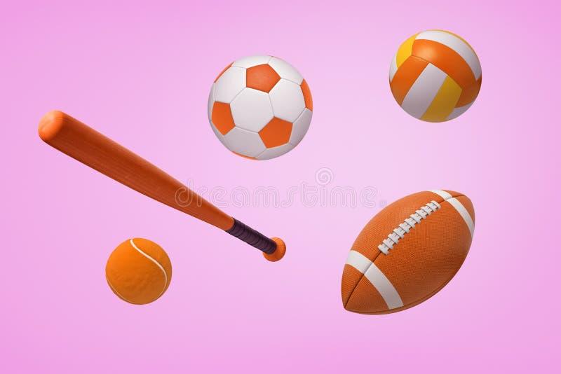 Wiedergabe 3d einiger orange Bälle für Fußball, amerikanischen Fußball und Tennis, mit einem Baseballschläger auf einem rosa Hint stock abbildung
