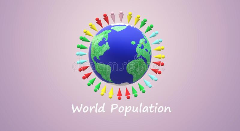 Wiedergabe 3d für Weltbevölkerungs-Tagesinhalt lizenzfreie abbildung