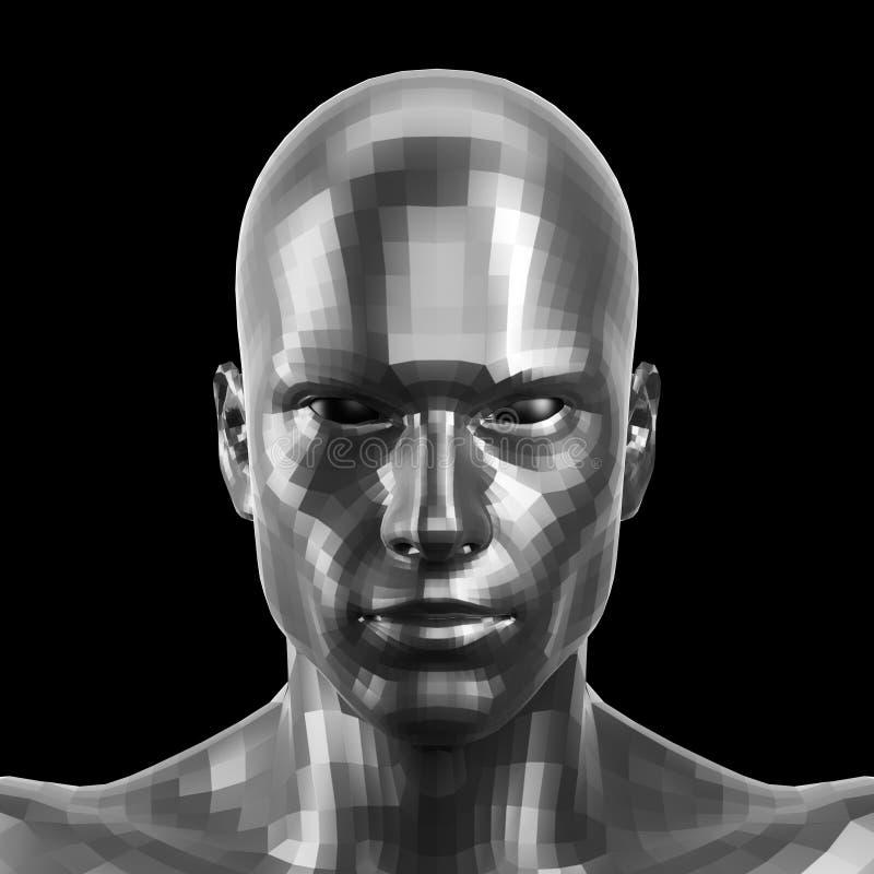 Wiedergabe 3d Facettiertes silbernes Robotergesicht mit den Augen, die auf Kamera vorder schauen stockfotografie