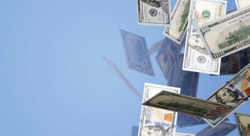 Wiedergabe 3d fallender 100-Dollar-Geschäftsinhalt vektor abbildung