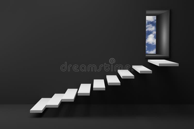Wiedergabe 3D: Illustration der hölzernen Treppe oder steigert zur glänzenden Tür des hellen Himmels gegen schwarze Wand und Bode stock abbildung