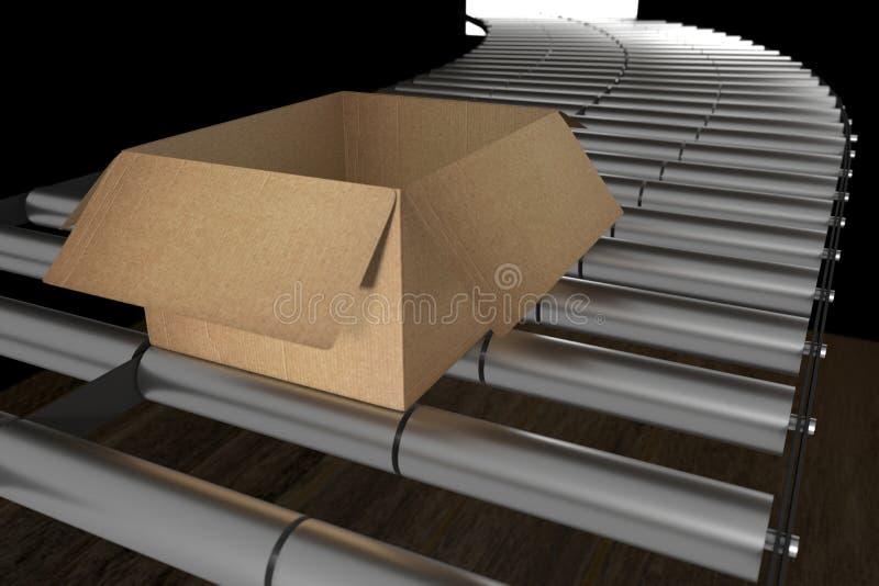 Wiedergabe 3d: Illustration der Perspektivenansicht der Pappschachteln auf Förderband des Stahls Kasten geöffnet Lager und Logist lizenzfreie abbildung
