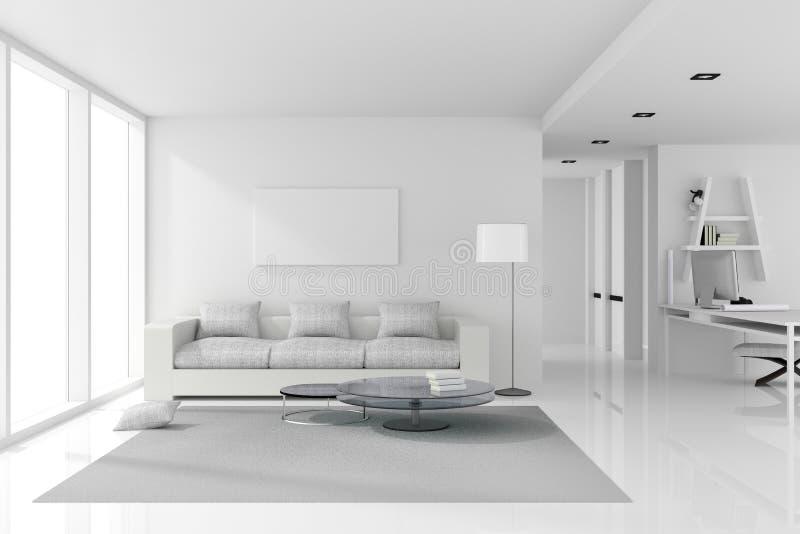 Wiedergabe 3D: Illustration der weißen Innenarchitektur des Wohnzimmers mit weißen modernen Artmöbeln glänzender weißer Boden stockbild