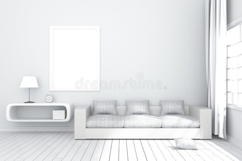 Wiedergabe 3D: Illustration des gemütlichen Wohnzimmerinnenraums mit Weißbuchregal und der weißen Sofamöbel gegen matte weiße Wan lizenzfreie abbildung