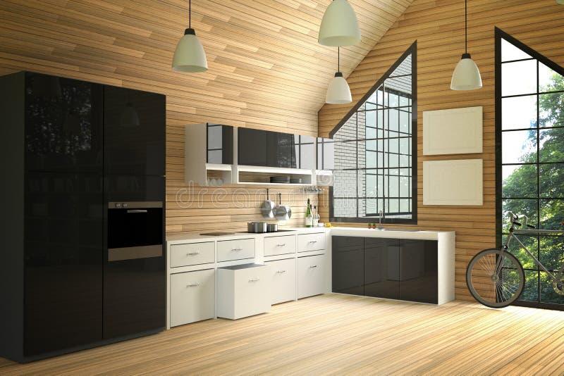 Wiedergabe 3D: Illustration des Innenküchenraumes des modernen Dachbodens Küchenteil des Hauses Schwarzweiss-Regal Spott oben Höl vektor abbildung