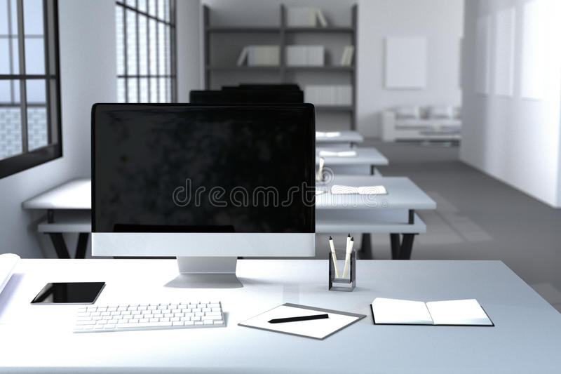 Wiedergabe 3D: Illustration des modernen kreativen Designerbüroinnendesktops mit PC-Computer Computerlabors Anmerkungen und Feder stock abbildung