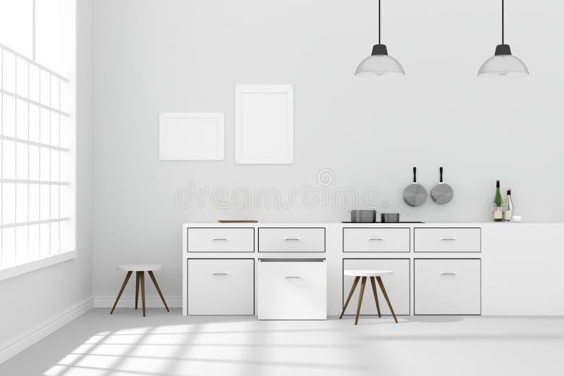 Wiedergabe 3D: Illustration des weißen modernen Küchenrauminnendesigns mit dem Lampenhängen mit zwei Weinlesen glänzender grauer  vektor abbildung