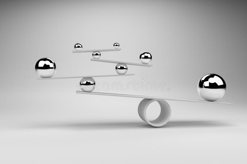 Wiedergabe 3D: Illustration von balancierenden Bällen an Bord der Konzeption, Balancen-Konzept stock abbildung