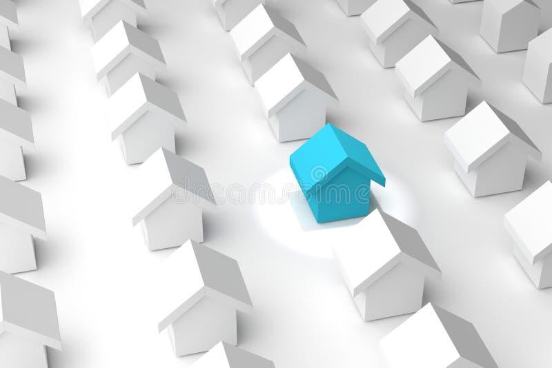 Download Wiedergabe 3d: Illustration Von Wählen Ihr Bestes Haus Suchen Sie  Ihr Haus Stock Abbildung