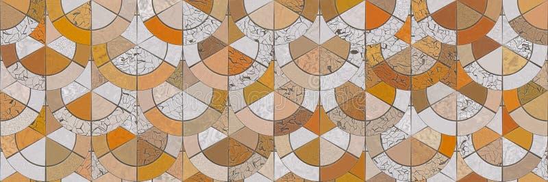 Wiedergabe 3d Keramischer Wandhintergrund der abstrakten Mosaikarchitektur lizenzfreie abbildung
