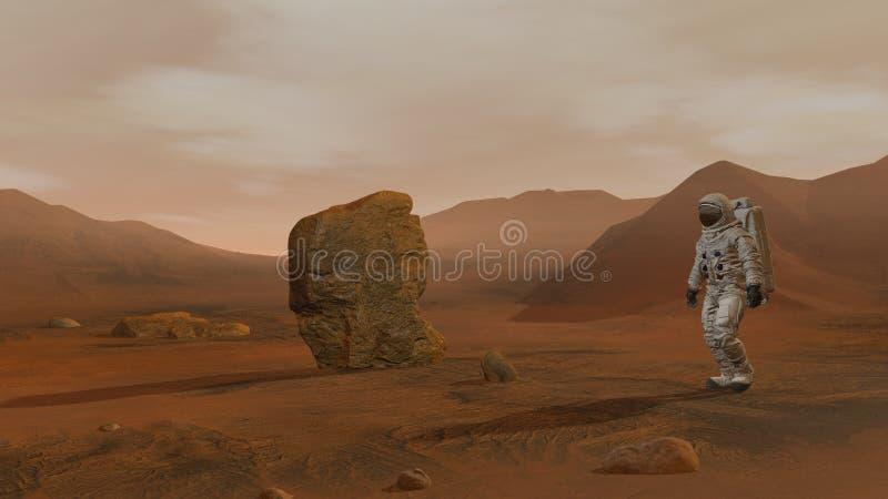 Wiedergabe 3d Kolonie auf Mars Zwei Astronauten, die den Raumanzug geht auf die Marsoberfläche tragen stock abbildung