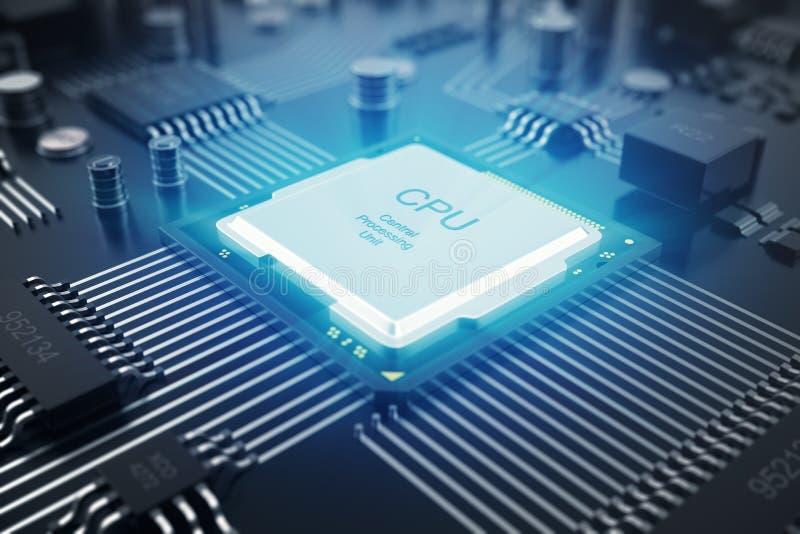 Wiedergabe 3D Leiterplatte Telefon mit Planetenerde und binärem Code Zentraler Computer-Prozessoren CPU-Konzept Digitaler Chip de vektor abbildung